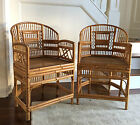 Pair Vintage Bamboo and Cane Chinese Chippendale Chairs/Hollywood Regency