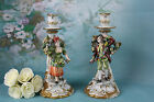 PAIR couple Italian CAPODIMONTE porcelain  marked Candlesticks biscuit deco