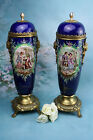 PAIR  French Limoges / sevres style porcelain vases urns Romantic scenes
