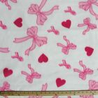 Pink Bows  Hearts On White Polar Fleece Fabric SOLD BY THE YARD
