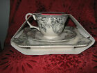 222 FIFTH ADELAIDE GREY FRENCH TOILE BIRD SALAD PLATE, TEACUP & SAUCER SET - NEW
