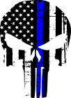 Punisher Skull American Flag Police Blue Line Decal - Graphic Various Sizes