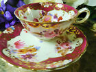 ANTIQUE ENGLISH TEA CUP AND SAUCER EARLY TO MID 19th CENTURY H.P. FLORAL MARONE