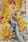 Vintage surrealist watercolor painting signed