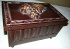 Vintage Wooden Wind Up jewelry Music box with grapes relief on top Sankyo player