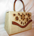 vint BAGS BY WHIDBY Raffia woven pin up tiki box style wooden accent hand bag