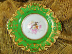RIDGWAY?  HANDLED CABINET PLATE HP FLORAL MOULDED RIMS LUSH GOLD  TRIM!   c183O