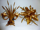 Floral Italian Gilt Tole Two and Five Light Candle Sconces Wheat Sheaf Leaf