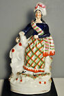 Antique STAFFORDSHIRE HIGHLAND WOMAN WITH DOGS Plaid skirt Bocage flower trim