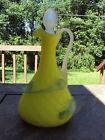 Victorian Diamond Quilted Mother of Pearl Yellow  w Applied Glass Dec. Cruet