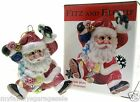 2002 NIB Fitz & Floyd Classics Sugar Plum Santa Ceramic Christmas Tree Ornament