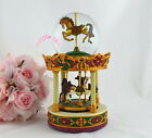 Purple Rain Forest musical box snow globe - 2 tier carousel merry go round