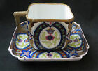 Antique Bee Hive Marked Hand Decorated Rectangular Cup and Saucer 19th Century
