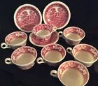 Copeland Spode Tower PINK OLD MARK & NEW MARK 3 Saucers With 7 Coffee Tea Cups