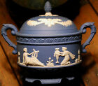 Vintage GRECIAN SCENES Blue and White Jasperware LARGE Footed Bowl W Lid JAPAN