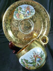 HOMER LAUGHLIN DEMITASSE CUP AND SAUCER GOLDEN BROCADE WITH 17TH CENTURY COUPLE