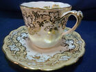 ANTIQUE  RIDGWAY COFFEE  CUP AND SAUCER  SOFT TAUPE BAND  SPLIT HANDLE  c1820+