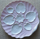 Antique Porcelain Oyster Type Plate Water Lily Raised Design