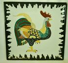 Vintage Large Square Platter Plate Wall Decor Colorful Rooster Italian Italy