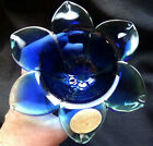 MURANO STYLE  FLOWER DISH W 3D PEDALS HAND MADE BLUE W/GREEN