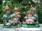 FABRIC MACHE SPRING EASTER BUNNIES 8 1/2 INCHES TALL, INDIVIDUALLY HAND CRAFTED