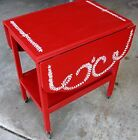Vintage 2 Tier Drop Leaf Tea Cart Nightstand Accent Table Hand-Painted w/ Wheels