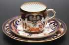 T.A. & S. GREEN ANTIQUE CUP, SAUCER AND SIDE PLATE/GOLD BLUE AND RUST COLORS