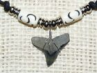 Fossil bull shark tooth necklace with bone beads and adjustable cord