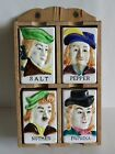 Vintage 4 Spice Shakers Set with Wooden Rack Colonial Man Japan
