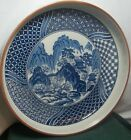 Vintage Japan Hand Painted Large Platter Bowl Serving Dish Flow Blue Pottery