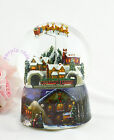 Purple Rain forest Santa Claus train through the tunnel music box Snowglobe 15CM