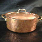 Vintage Copper Casserole with Lid and Brass Handles  Made in France (French)