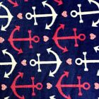 Pink  White Anchors On Navy Premium Polar Fleece Fabric BY THE YARD