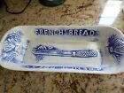 Vintage 1960's L. A. Potteries White/ Blue French Bread Loaf Tray #FB1 Calif.USA