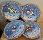 Set of 4 Salad/Dessert Plates~Debbie Mumm/Sakura Xmas Snowman SNOW ANGEL VILLAGE
