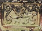 Antique 16th or 17th C Dutch Stoneware Pottery Hearth Tile - Heraldic Lion - PT