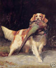 Oil painting dog Springer Spaniel with Pheasant in landscape canvas 24x36inch