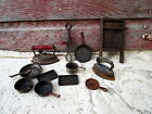 Antique Vintage Tin/Iron Toy Dishes Wash Board,SAD Iron Beater Primitive Rustic