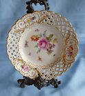 MEISSEN Antique Early Crossed Swords CABINET PLATE Scalloped Reticulated Band