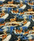 Deer Buck in Snow Woods Fabric ! High Quality Quilt Cotton! by the yard
