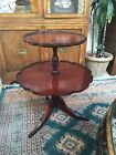Vintage Round Mahogany Wood 2 Tier Pie Table Duncan Phyfe Style Feet