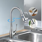 Single Handle Brushed Nickel Finish Pull Out& Swivel Kitchen Sink Faucet Taps