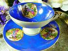 JAPAN TEA CUP AND SAUCER PEDESTAL HP LOVE STORY CAMEO ROYAL BLUE  GOLD GILT