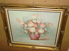 FLORAL OIL PAINTING, ROBERT COX, SPRINGY MULTI-COLORS, FRAMED, LARGE, RESELLER