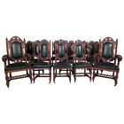 French 19th C. Rare Set of 14 Dining Chairs Renaissance Solid Oak Leather