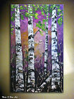Purple Birch Forest Original Painting.Palette Knife.Impasto Painting 40