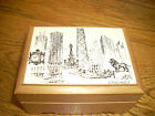 WOOD VINTAGE MUSIC BOX PICTURE OF CHICAGO WITH REUGE SWISS MOVEMENT
