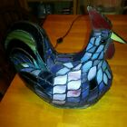 STAINED SLAG GLASS CHICKEN ROOSTER HEN TABLE LIGHT LAMP TIFFANY STYLE