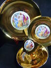 VINTAGE CARLSBAD TEA CUP AND SAUCER  TRIO & PLATE GOLD  WITH FIGURATIVE MAIDENS