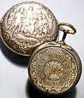 Rare Antique 18-Size Signed Silver Repousse 1685 Pair Case Verge Pocket Watch